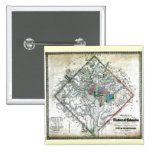Old 1862 Washington District of Columbia Map 2 Inch Square Button