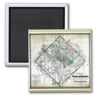 Old 1862 Washington District of Columbia Map 2 Inch Square Magnet