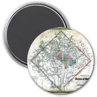 Old 1862 Washington District of Columbia Map 3 Inch Round Magnet