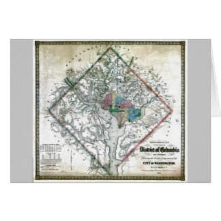 Old 1862 Washington District of Columbia Map Card