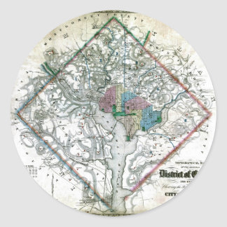 Old 1862 Washington District of Columbia Map Classic Round Sticker