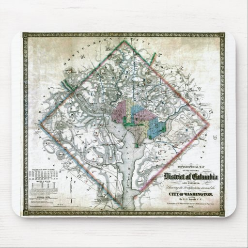 Old 1862 Washington District of Columbia Map Mouse Pad
