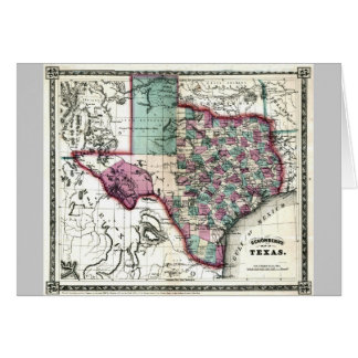 Old 1866 Texas Map Greeting Card