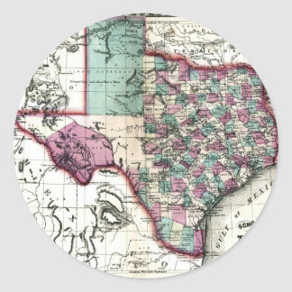 Old 1866 Texas Map Classic Round Sticker