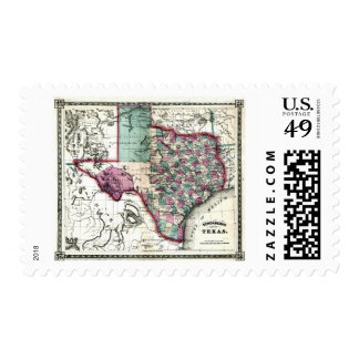 Old 1866 Texas Map Postage Stamps
