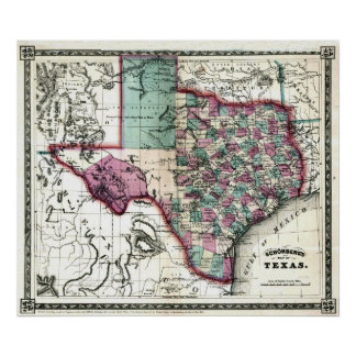 Old 1866 Texas Map Poster