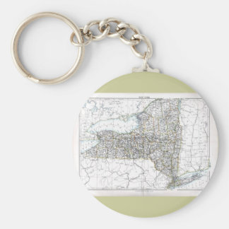 Old 1884 New York Map Keychain