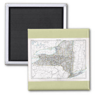 Old 1884 New York Map 2 Inch Square Magnet