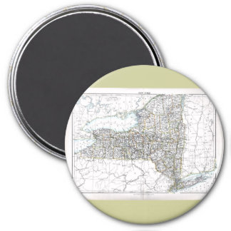 Old 1884 New York Map 3 Inch Round Magnet