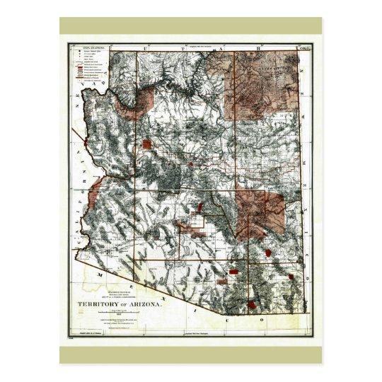 Old 1887 Territory of Arizona Map Postcard