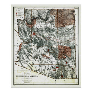 Old 1887 Territory of Arizona Map Poster