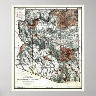 Old 1887 Territory of Arizona Map Poster