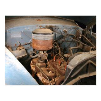 Old 6 Cylinder Engine In A Kaiser Frazer Postcard