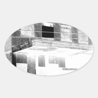 Old Abandon Building negative Oval Sticker