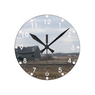 Old Abandoned Barn Round Clock