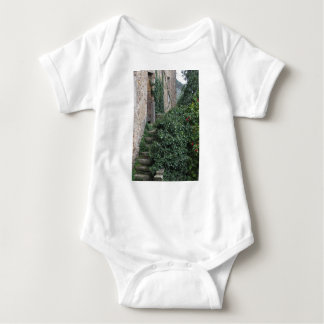 Old abandoned country homestead in the woods baby bodysuit