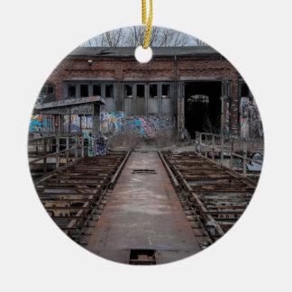 Old abandoned warehouse ceramic ornament