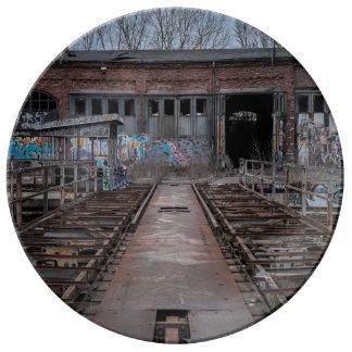 Old abandoned warehouse porcelain plate