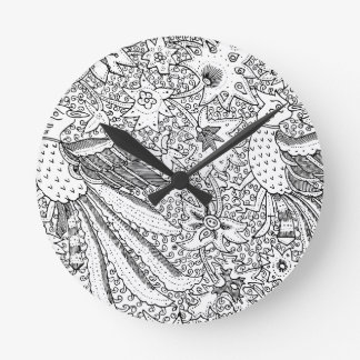 Old Abstract Textile Nature Pattern Round Clock