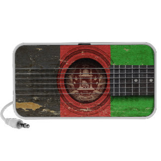 Old Acoustic Guitar with Afghan Flag Portable Speakers