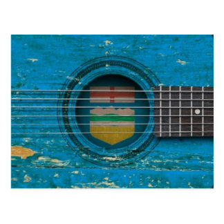 Old Acoustic Guitar with Alberta Flag Postcard