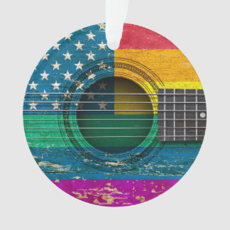 Old Acoustic Guitar with American Gay Pride Flag