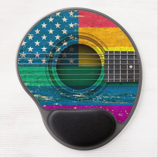 Old Acoustic Guitar with American Gay Pride Flag Gel Mouse Pads