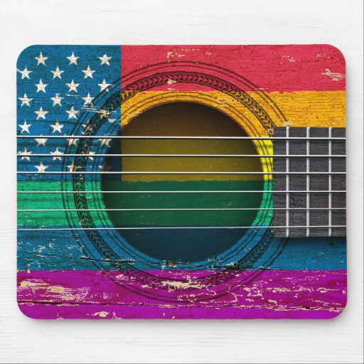 Old Acoustic Guitar with American Gay Pride Flag Mousepads