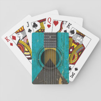 Old Acoustic Guitar with Bahamas Flag Card Deck