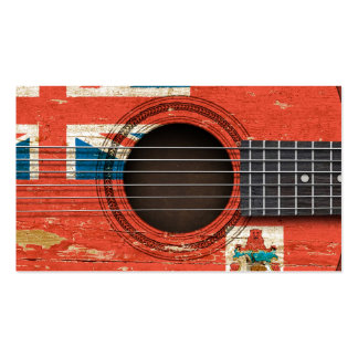 Old Acoustic Guitar with Bermuda Flag Business Card