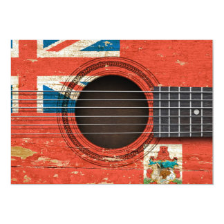 Old Acoustic Guitar with Bermuda Flag Invitation