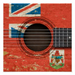 Old Acoustic Guitar with Bermuda Flag Poster