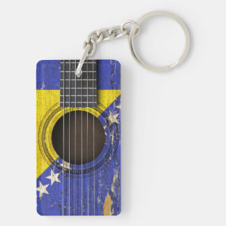 Old Acoustic Guitar with Bosnia-Herzegovina Flag Keychain