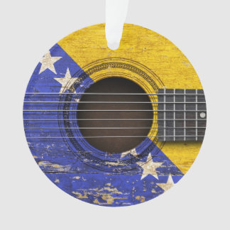 Old Acoustic Guitar with Bosnia-Herzegovina Flag Ornament