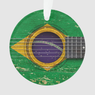 Old Acoustic Guitar with Brazilian Flag
