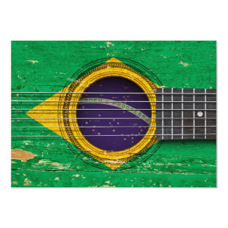 Old Acoustic Guitar with Brazilian Flag Custom Invitations