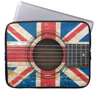 Old Acoustic Guitar with British Flag Computer Sleeve