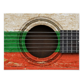 Old Acoustic Guitar with Bulgarian Flag Poster