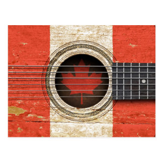 Old Acoustic Guitar with Canadian Flag Postcard