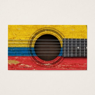 Old Acoustic Guitar with Colombian Flag Business Card
