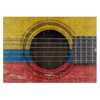 Old Acoustic Guitar with Colombian Flag Cutting Board