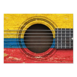 Old Acoustic Guitar with Colombian Flag Invites