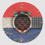 Old Acoustic Guitar with Croatian Flag Stickers