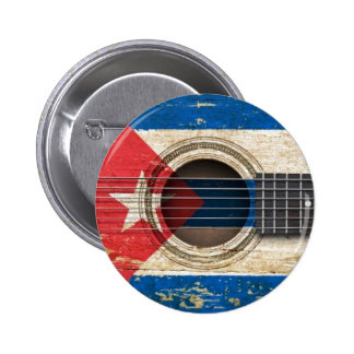 Old Acoustic Guitar with Cuban Flag Button