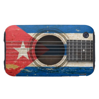Old Acoustic Guitar with Cuban Flag iPhone 3 Tough Case