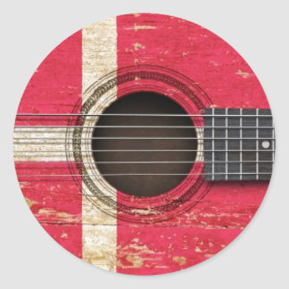 Old Acoustic Guitar with Danish Flag Classic Round Sticker