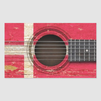 Old Acoustic Guitar with Danish Flag Rectangle Sticker