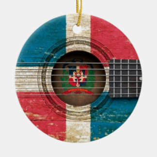 Old Acoustic Guitar with Dominican Republic Flag Double-Sided Ceramic Round Christmas Ornament