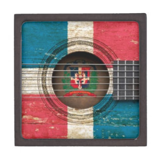 Old Acoustic Guitar with Dominican Republic Flag Premium Gift Boxes