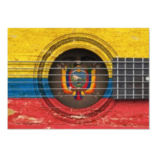 Old Acoustic Guitar with Ecuadorian Flag 5x7 Paper Invitation Card